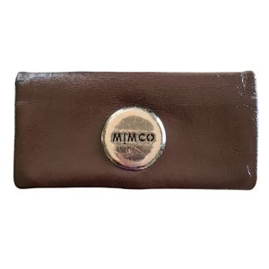 Mimco Leather Brown Gold Wallet Purse